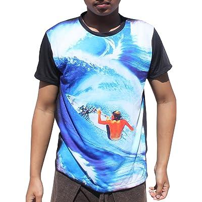 Full Funk Fine Art Bold Blue Surfer Carving it Up T-Shirt, Medium | .com