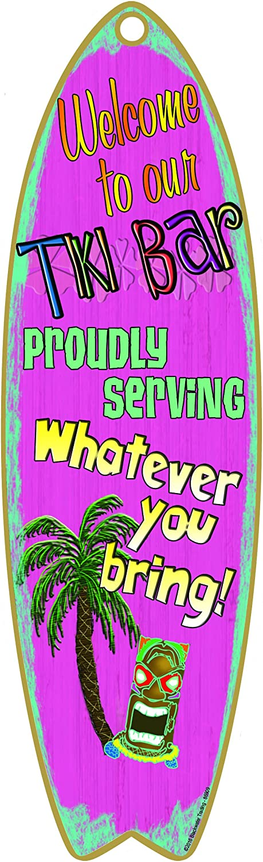 "Blackwater Trading Tiki Bar Serving What You Bring Nautical Ocean Surfboard Sign 5""x16"""