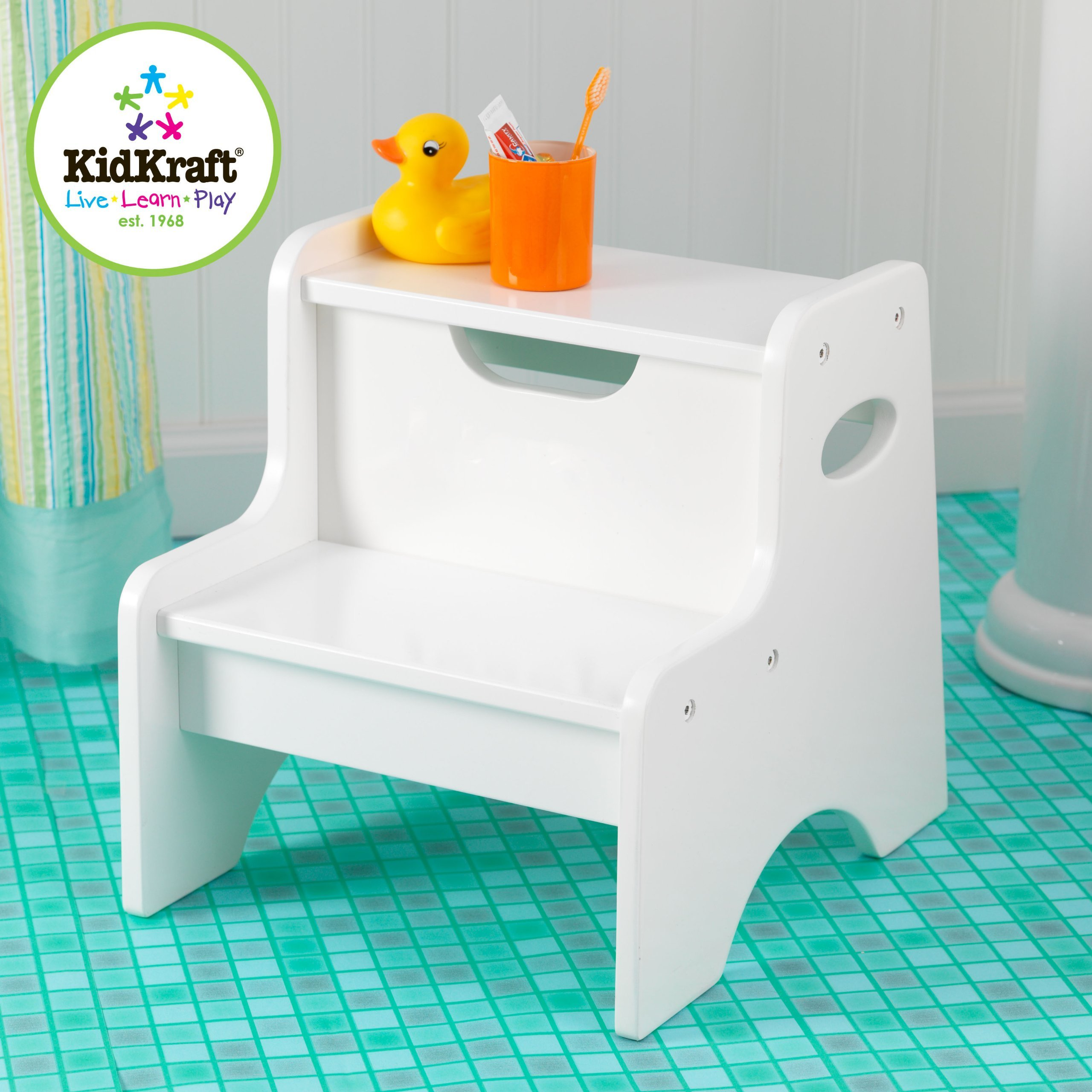 KidKraft Wooden Two Step Children's Stool with Handles- White (Renewed)