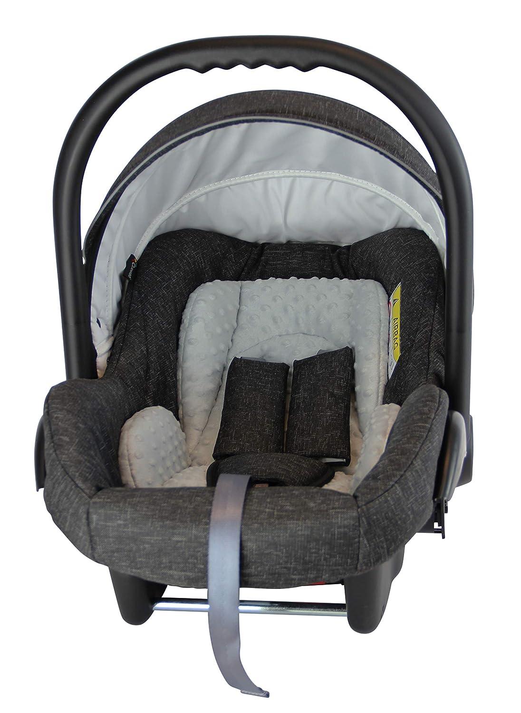 Denim Blau Leinen Clamaro Babyschale Auto JUNO black ultraleicht 2,95 kg mit Anti-Shock Schaumstoff Gruppe 0+ Baby Autositz inkl ECE-R 44//04 Sonnenverdeck und Fu/ßabdeckung 0-13 kg
