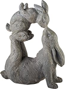ART & ARTIFACT Kissing Rabbits Garden Sculpture - Parent Child Bunny Yard Decor
