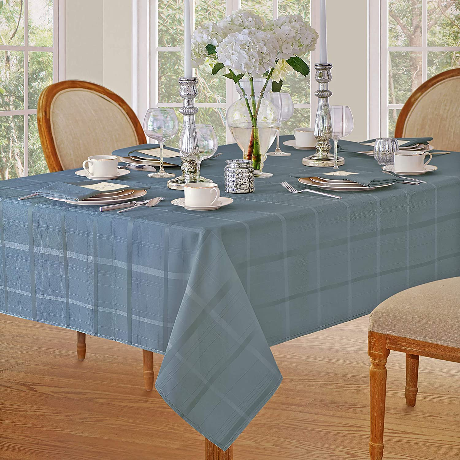 Newbridge Elegance Plaid Christmas Fabric Tablecloth, 100% Polyester, No Iron, Soil Resistant Holiday Tablecloth, 60 Inch x 84 Inch Oblong/Rectangle, Shadow Blue