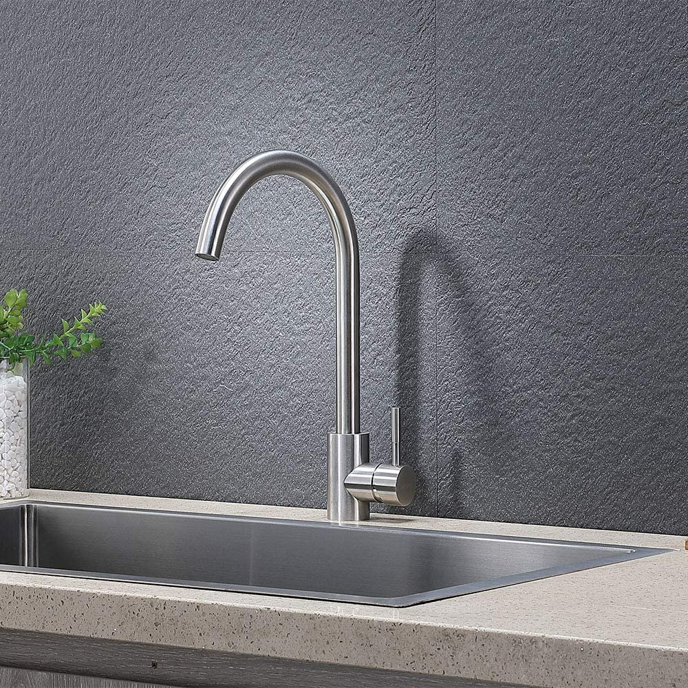 Vapsint 360 Degree Swivel Modern Hot Cold Mixer Stainless Steel Bar Kitchen Sink Faucet Easy Installation Good Valued Brushed Nickel Single Handle Kitchen Faucet Amazon Com