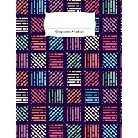 Composition Notebook: Colored Pixelated Patchwork Wide Ruled Notebook
