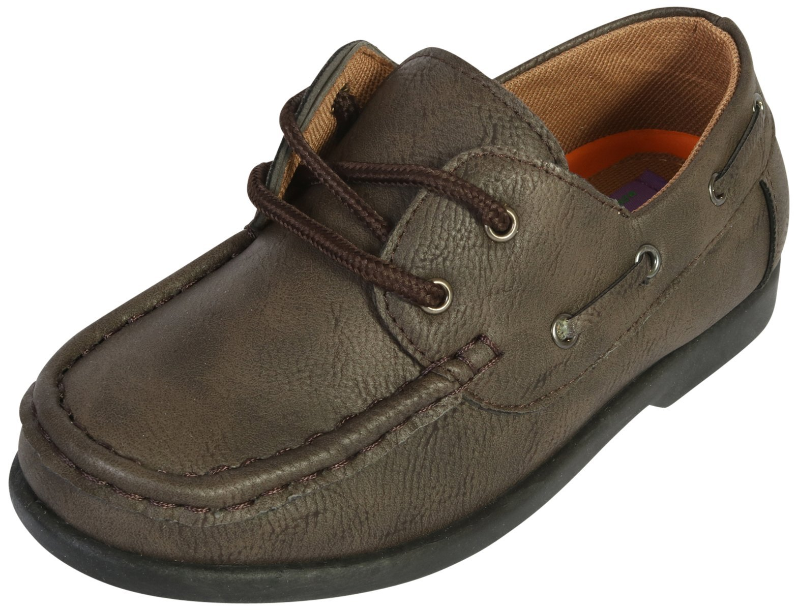 Jodano Collection Boys Slip on Boat Shoes with Memory Foam Insole, Brown, 11 M US Little Kid'