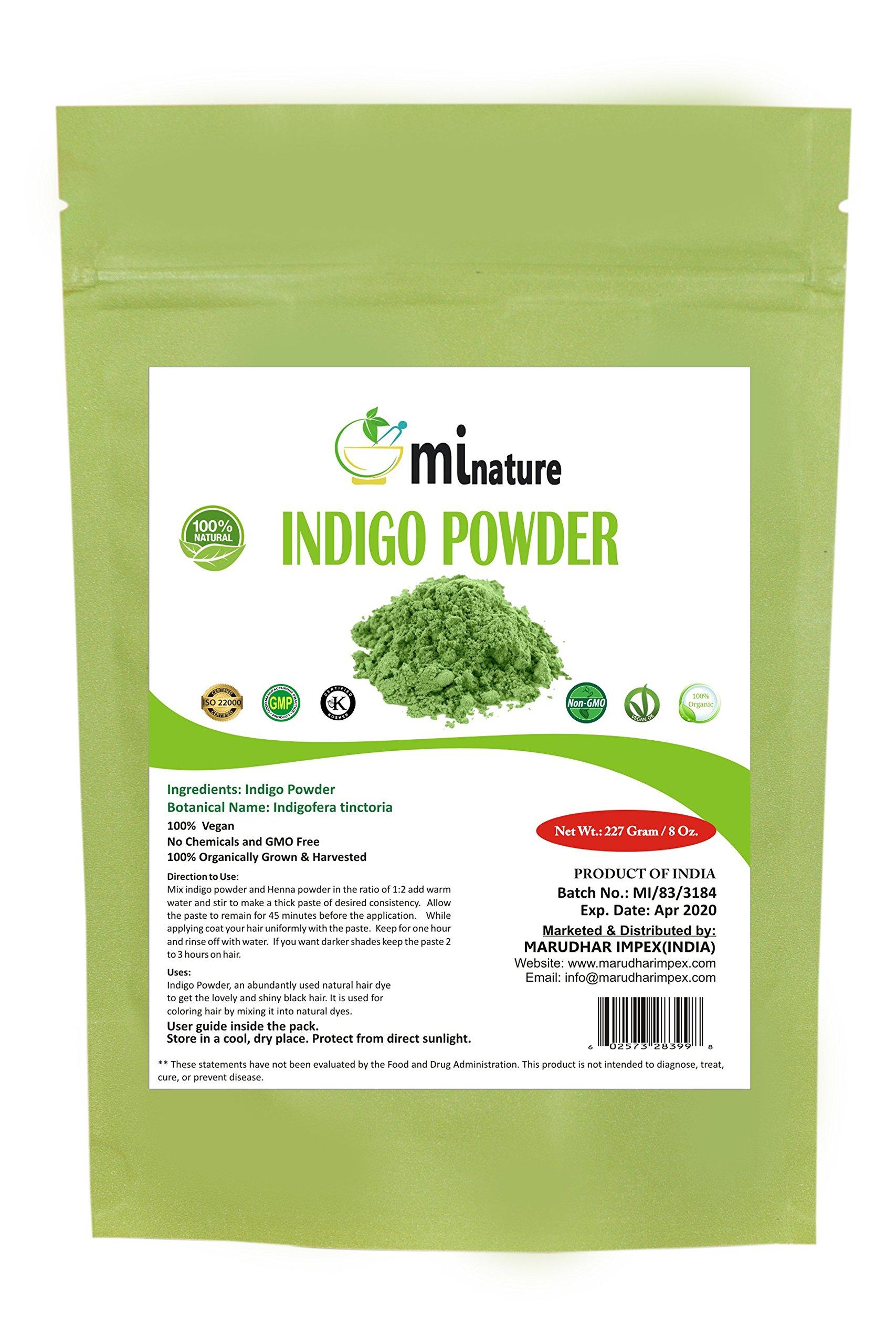 mi nature Indigo Powder -INDIGOFERA TINCTORIA,(100% NATURAL, ORGANICALLY GROWN) 1/2 LB (227 grams) RESEALABLE BAG
