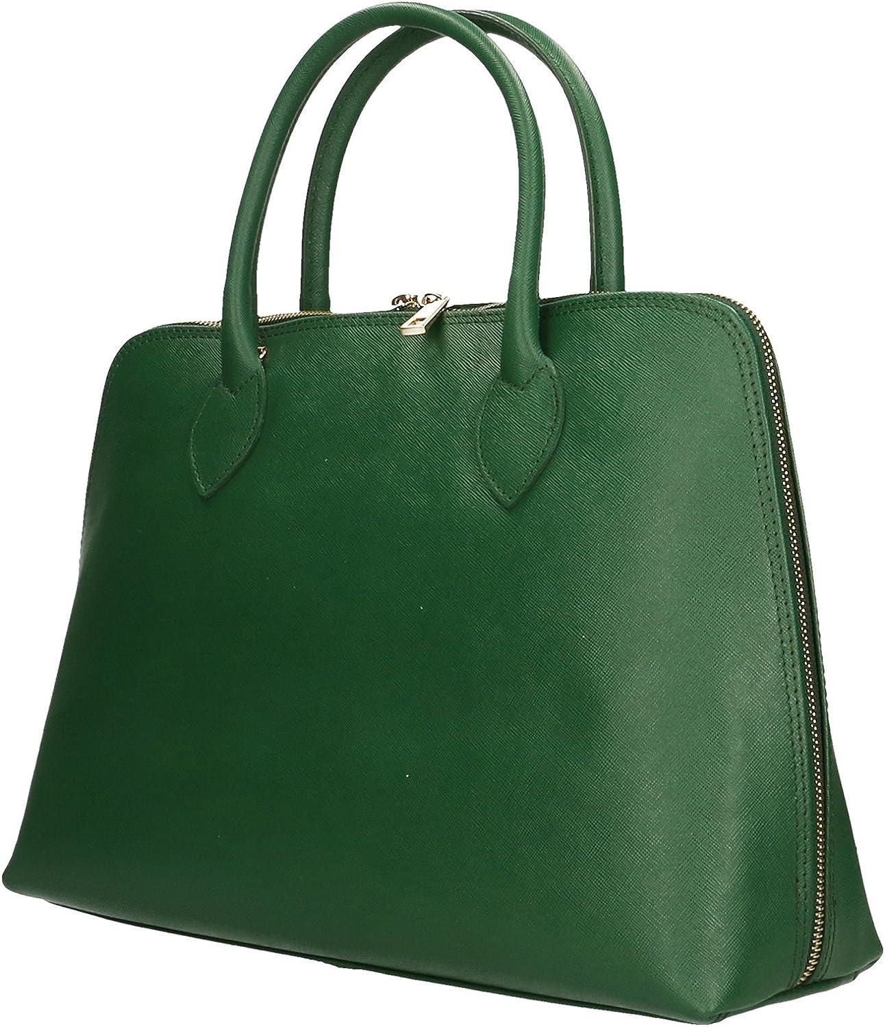 Aren - Handbag Borsa a Mano da Donna in Vera Pelle Made in italy - 37x27x12 Cm Verde