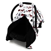 Dear Baby Gear Car Seat Canopy, Woodland Bear Moose Plaid, Minky Black