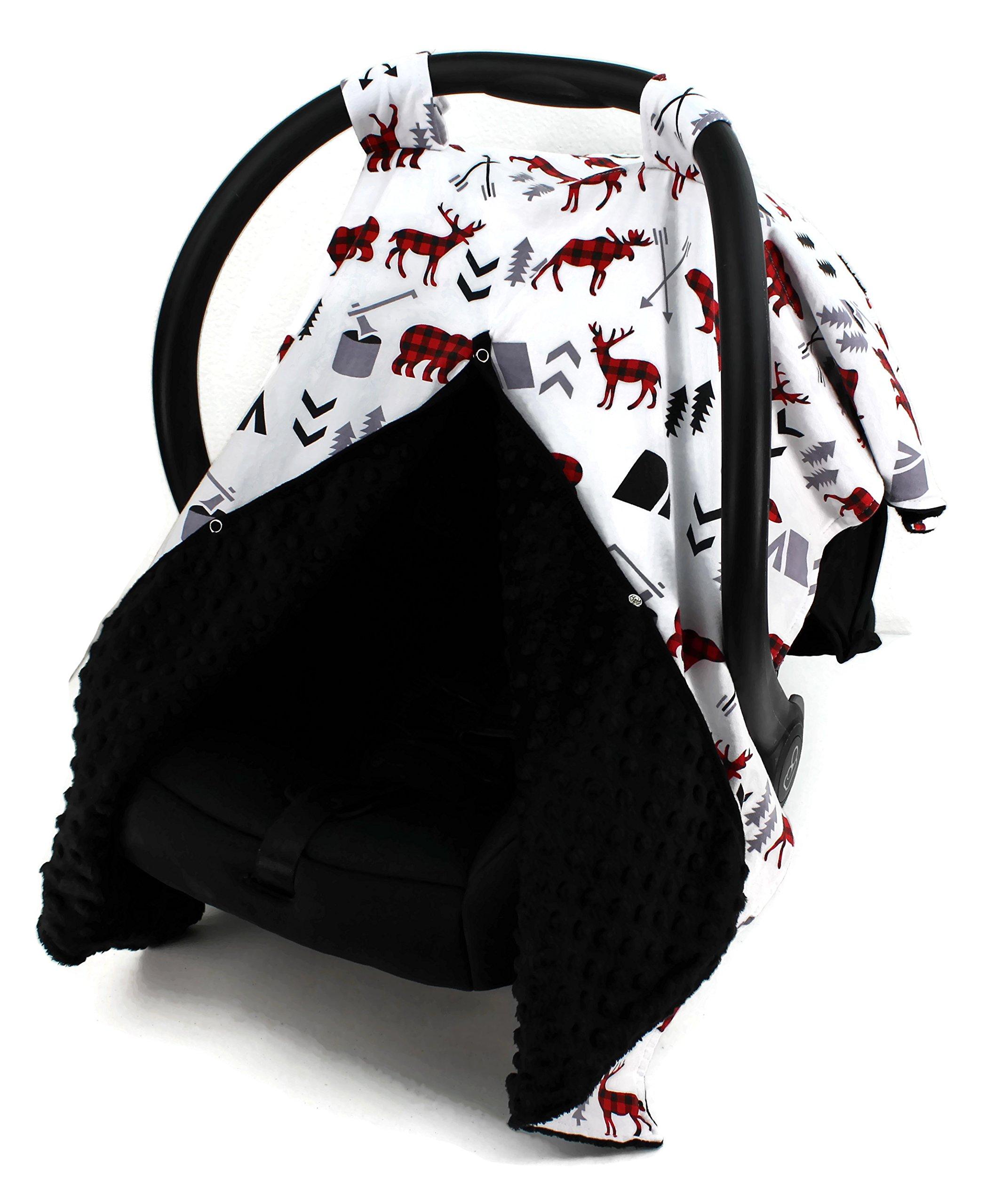 Dear Baby Gear Car Seat Canopy, Woodland Bear Moose Plaid, Minky Black
