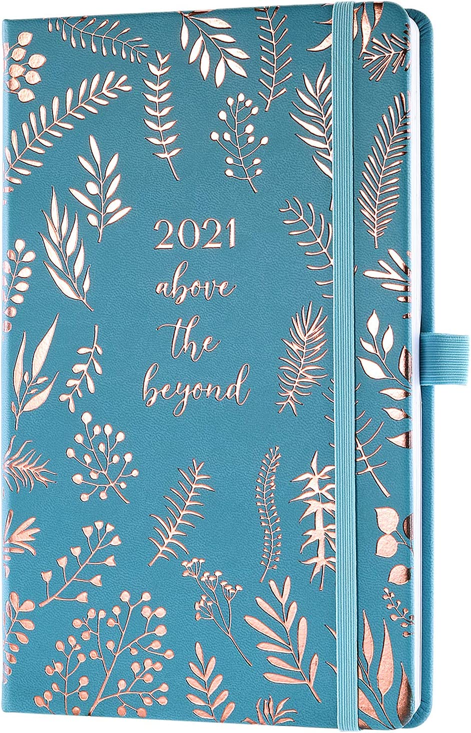 Agenda 2021 Eono, Semana para ver, Cubierta de cuero azul, Lazo para bolígrafo, Encuadernado elástico, Bolsillo trasero, 13,5 x 21,5 cm