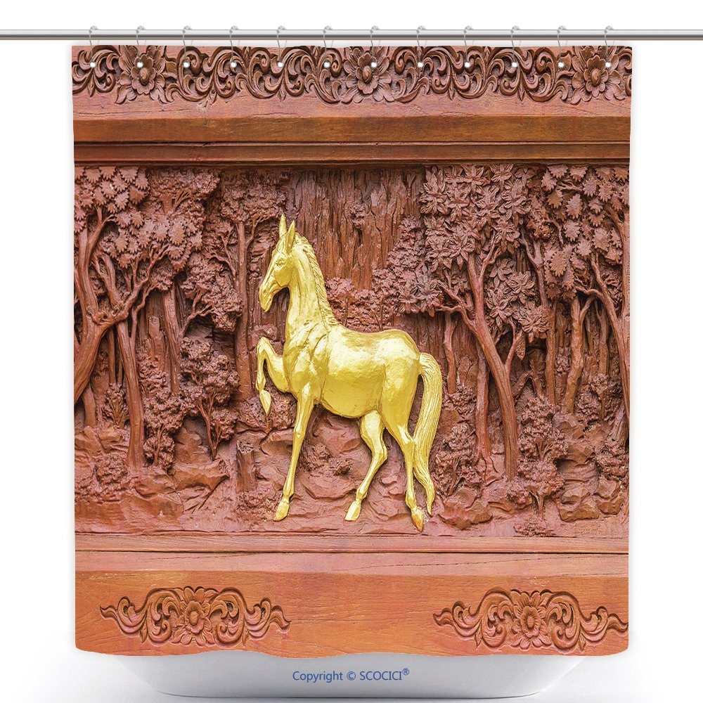 Custom Shower Curtains Horse Wood Carvings In Thai Land 280648637 Polyester Bathroom Shower Curtain Set With Hooks by