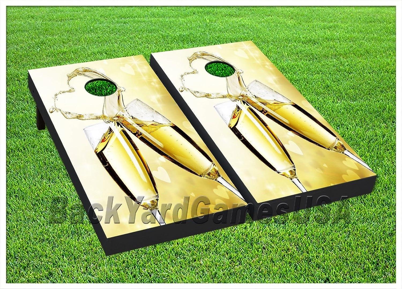 CornholeボードWedding Day Champaign Glasses Beanbag Toss Game Wバッグセット374