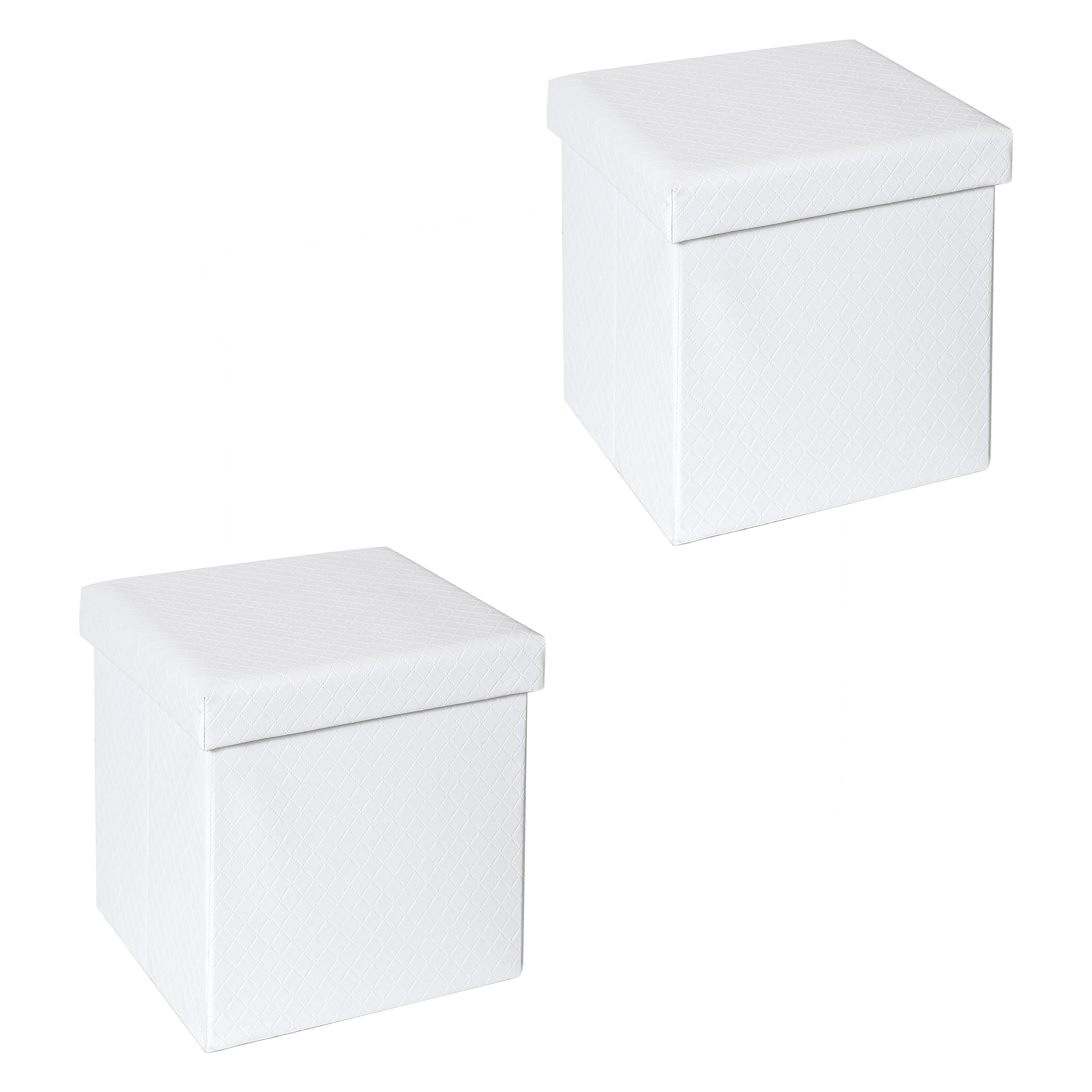 Seville Classics WEB557 Storage Ottoman, White Quilted (Two Pack)