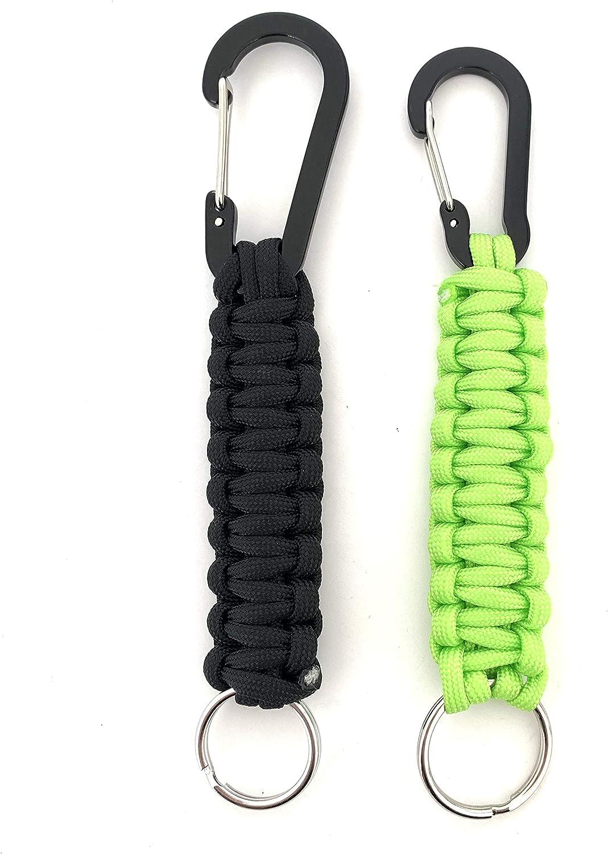 Azul Cuerda Llavero con mosquet/ón Kit de 2 piezas color Negro 5 colores disponibles