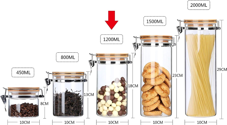 az/úcar granos de caf/é y frutos secos 260 ml contenedor de almacenamiento de alimentos para t/é Tarro de almacenamiento de alimentos de cer/ámica herm/ético con tapa de bamb/ú sellada