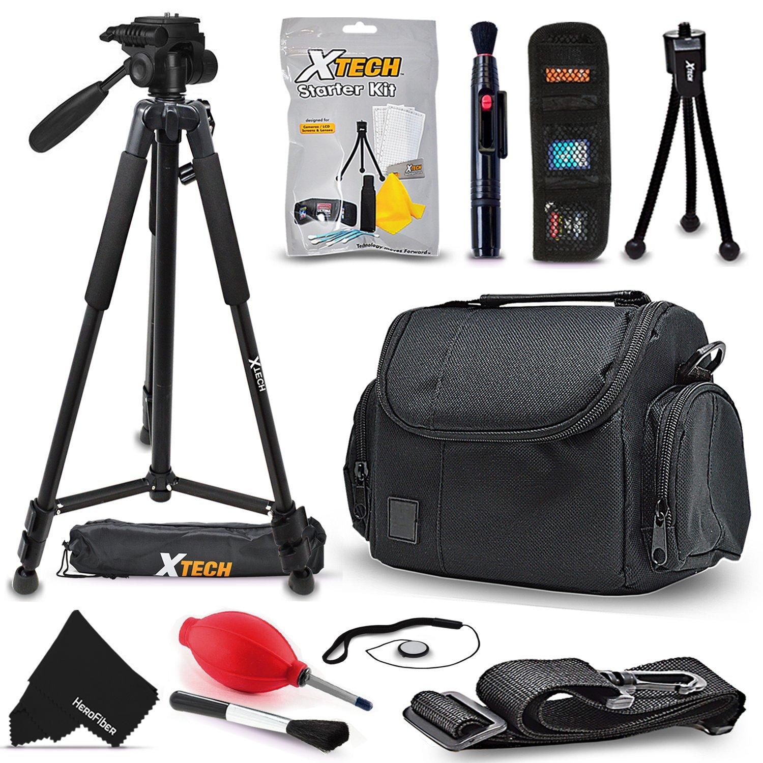"97e1c85f946c Premium Camera Case + 72"" Tripod w/3 Way Pan-head + Accessories kit ..."