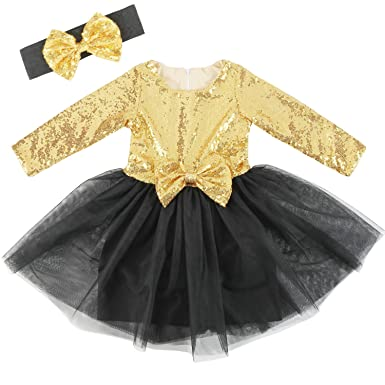c92510cd3 Cilucu Flower Girls Dresses Kids Sequin Tulle Birthday Dress Prom Aline Gown  with Long Sleeve Gold