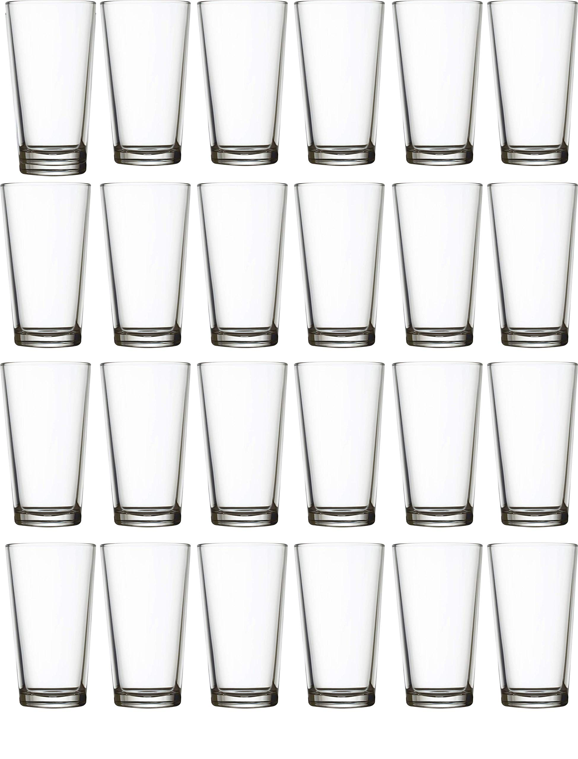 Circleware 04128/AM Huge 24-Piece Set of Highball Tumbler Drinking Glasses 16 oz. Home & Kitchen Party Heavy Base Clear Glassware Cups for Water, Beer, Juice, Ice Tea, Bar Beverages Simple Home 24pc by Circleware (Image #1)