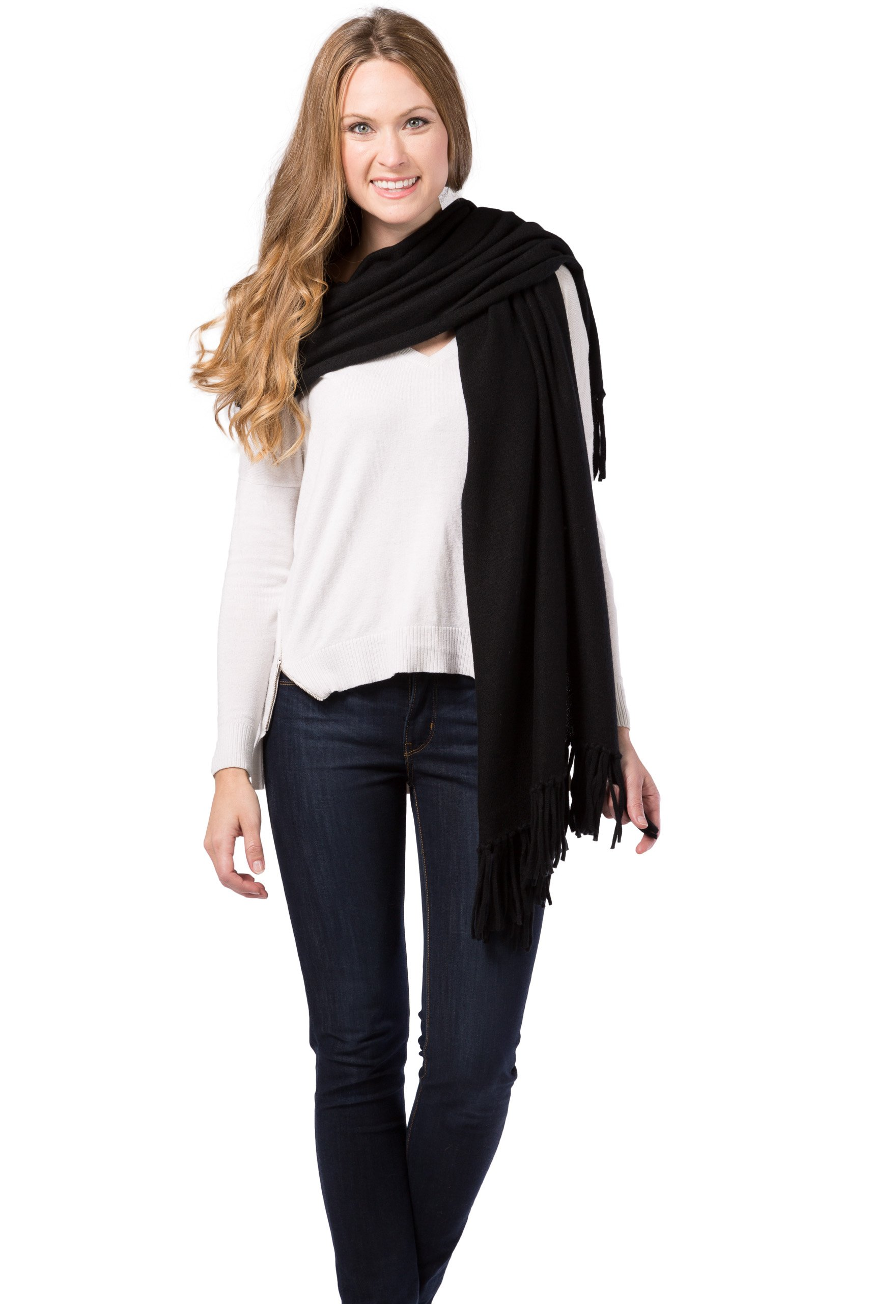 Fishers Finery Women's 100% Cashmere Knit Shawl with Fringe; 78'' X 28'' (Black)