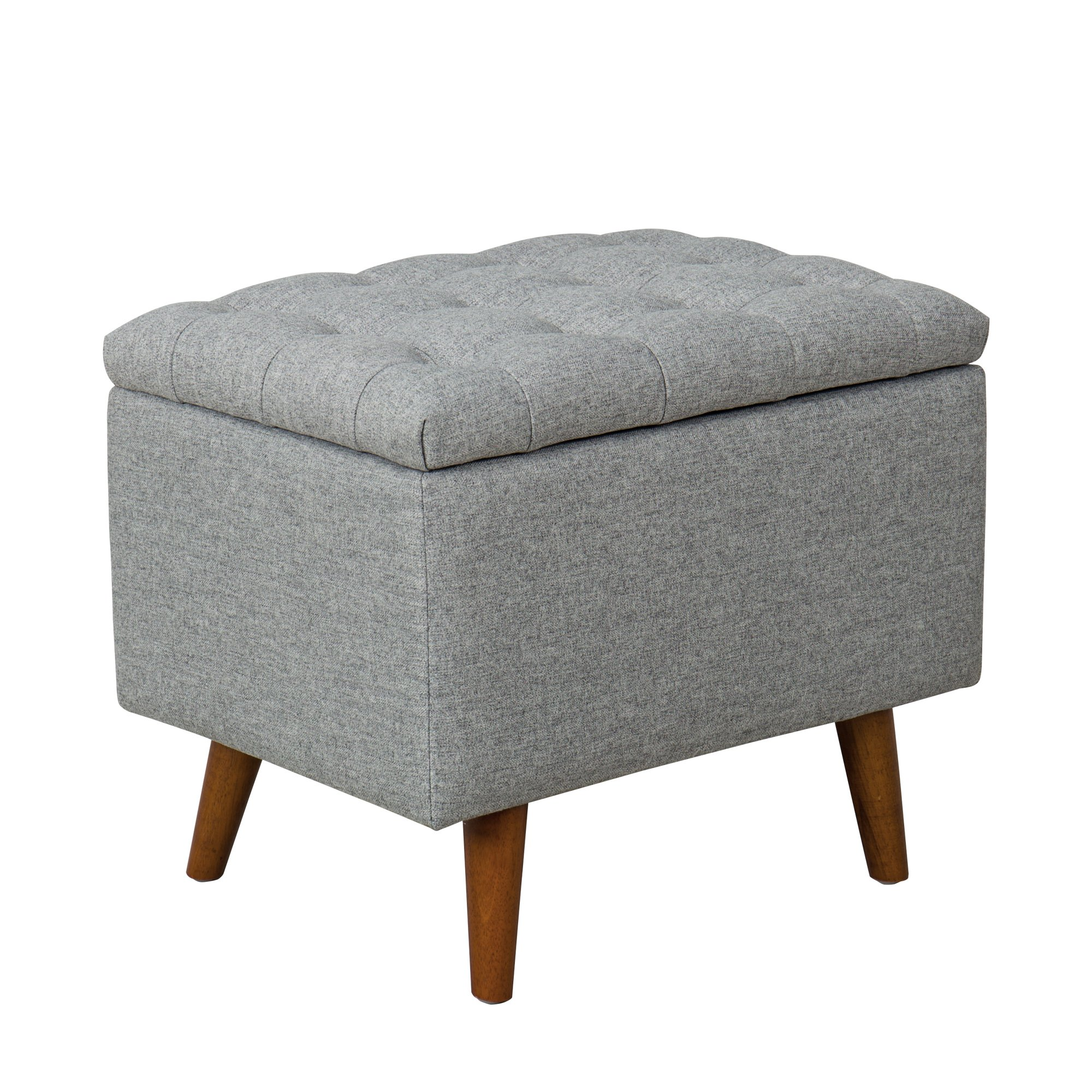 Spatial Order Kaufmann Modern Storage Bench with Button Tufting, Light Gray