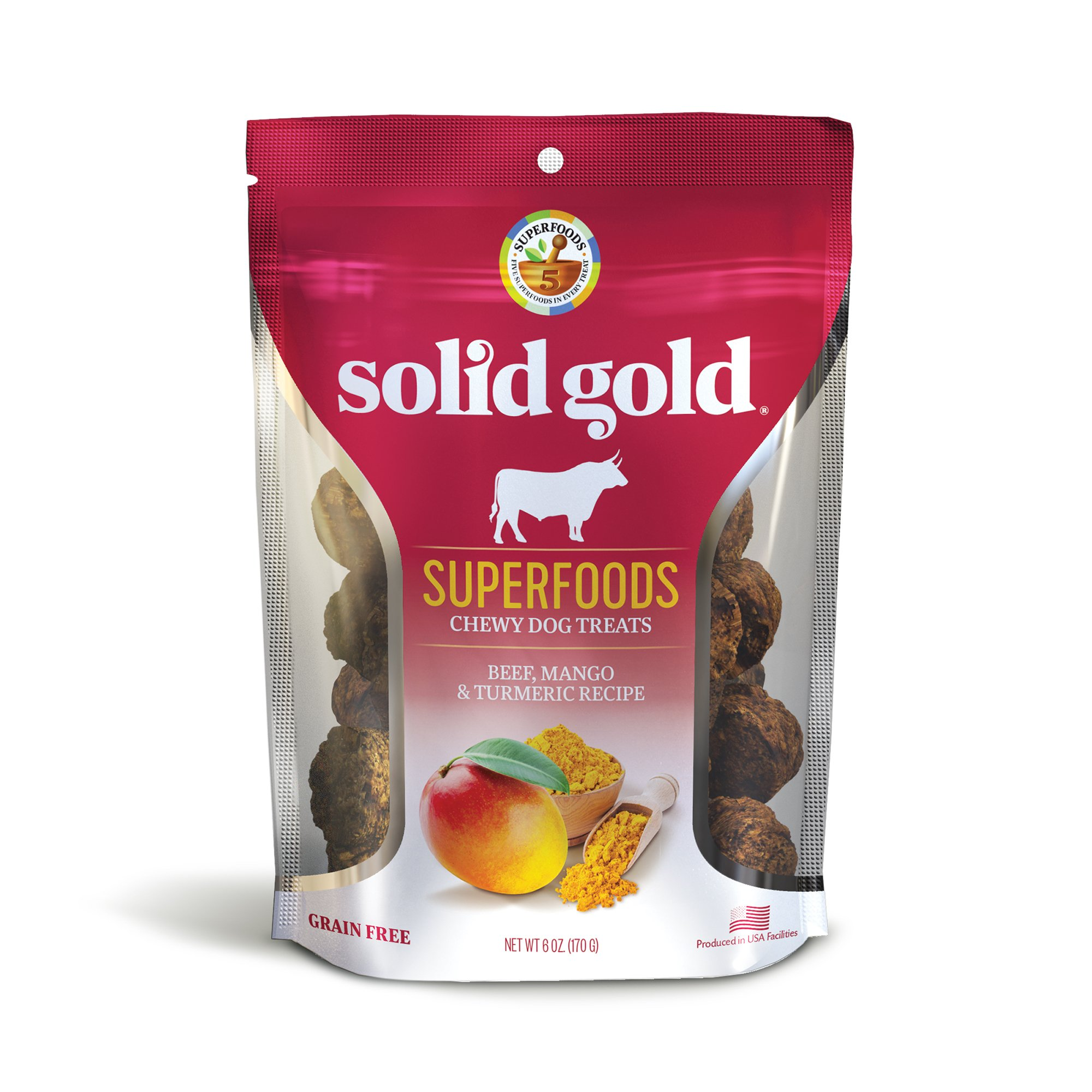 Solid Gold Superfood Dog Treats; Grain Free Beef, Mango & Turmeric, 6Oz