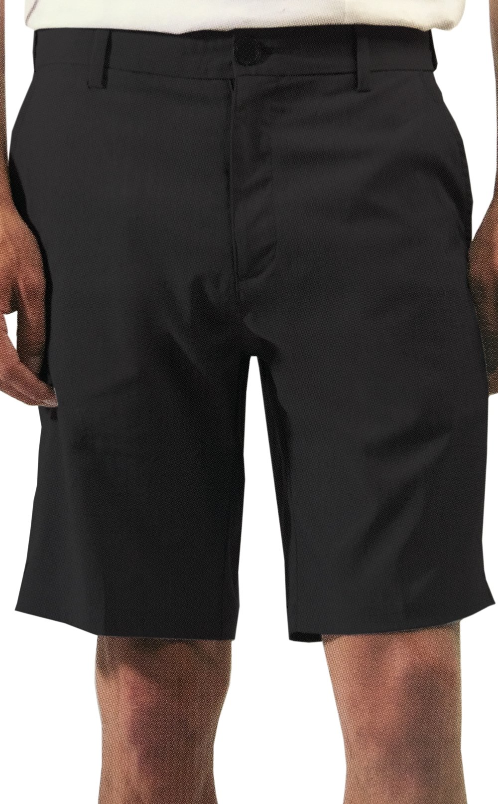 Micros Men's 2-Way Stretch Flat Front Standard Fit Shorts (Black, 32)