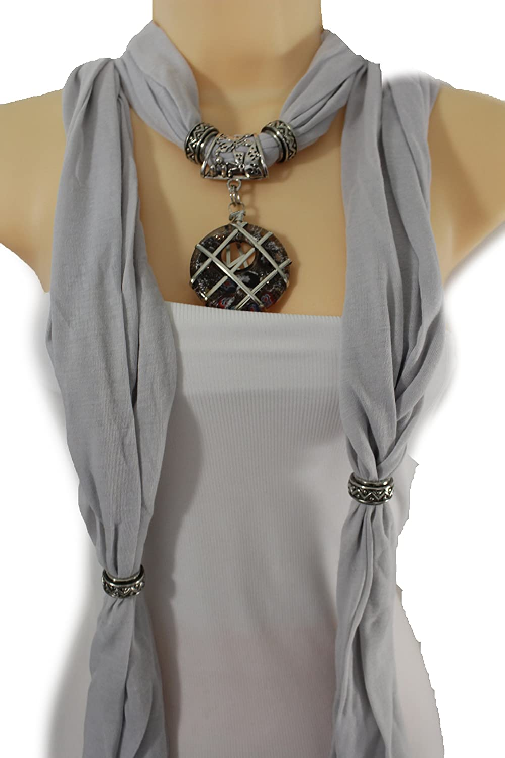 TFJ Women Gray Fashion Long Necklace Scarf Soft Fabric Floral Roses Charm Pendant