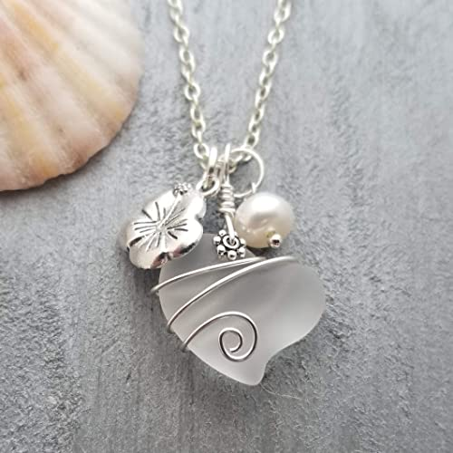 Dainty Necklace Irish Gifts Sea Glass Jewelry,Ocean Necklace Sterling Silver Boho Chic Wire Wrapped Sea Glass Pendant Gifts For Her