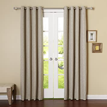 Amazon.com: Best Home Fashion Heathered Linen Look Curtains ...