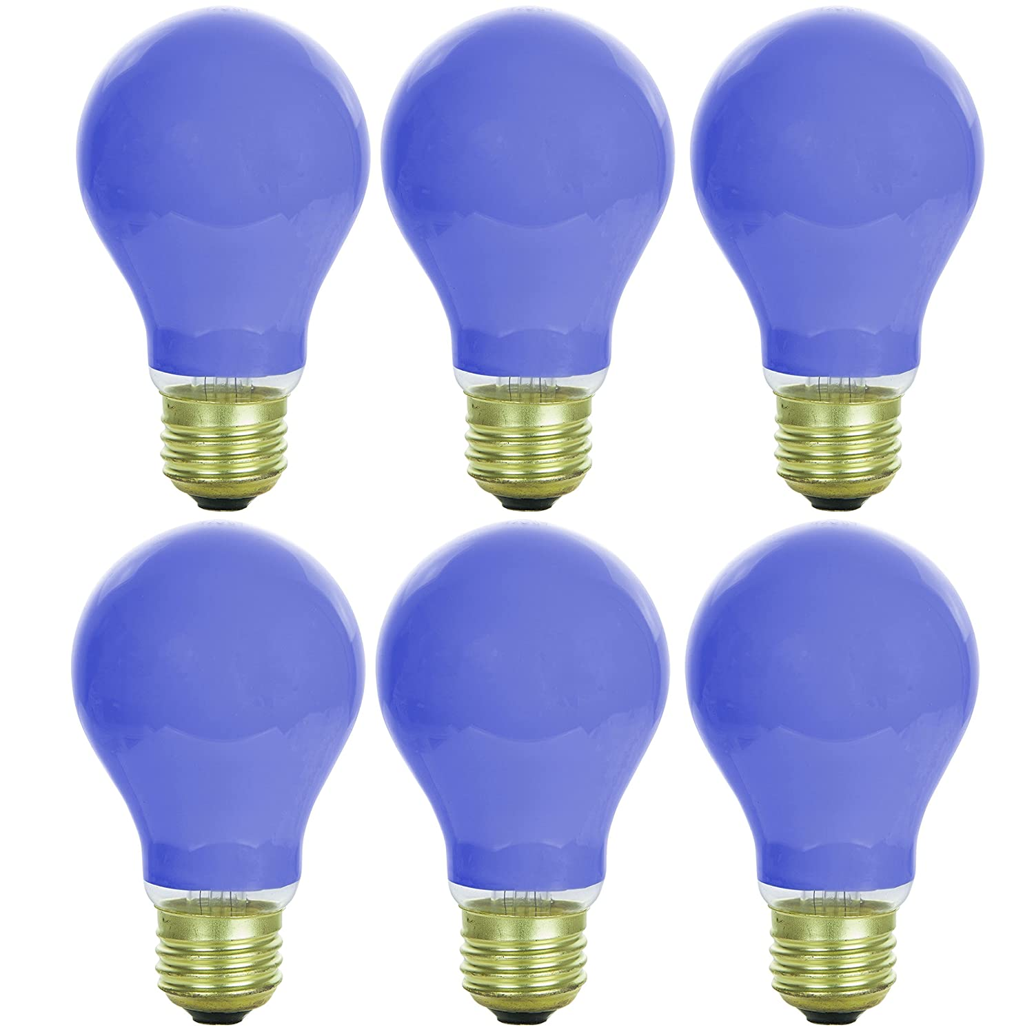 Sunlite Incandescent Red A19 60W Light Bulbs with Medium E26 Base (6 Pack) 60A/R/6PK