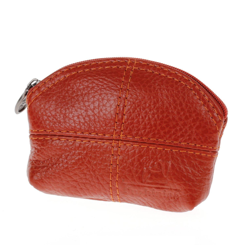 Women Genuine Leather Change Purse Mini Wallet Key Pouch Coin Bag Gift In Orange