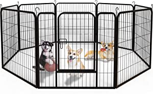 YINTATECH Dog Playpen Outdoor 8-Panel Heavy Duty Portable and Foldable Metal Exercise Fence for Dogs Puppies Animals Pets