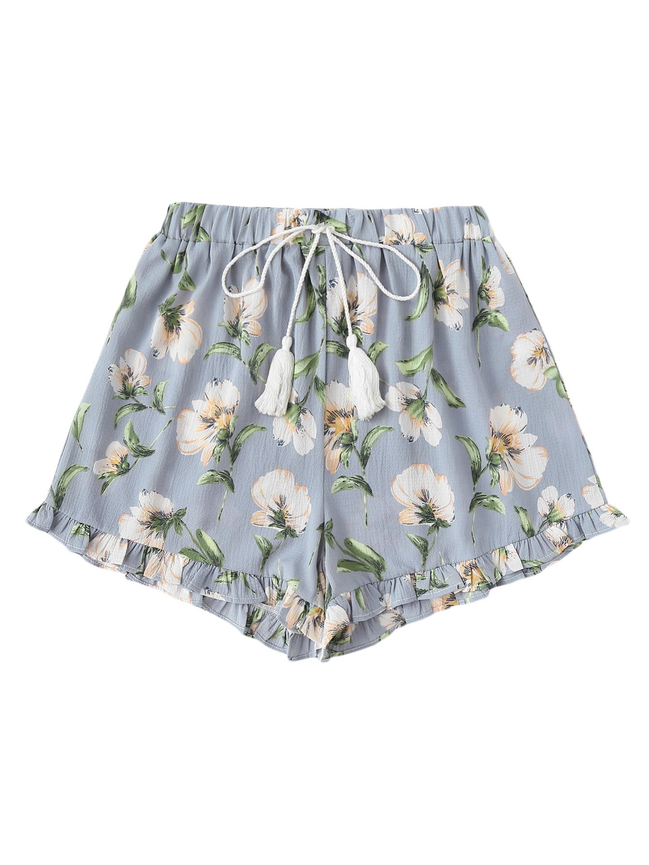 SweatyRocks Women's Vintage Floral Embroidery Drawstring Summer Casual Shorts Multicolor S