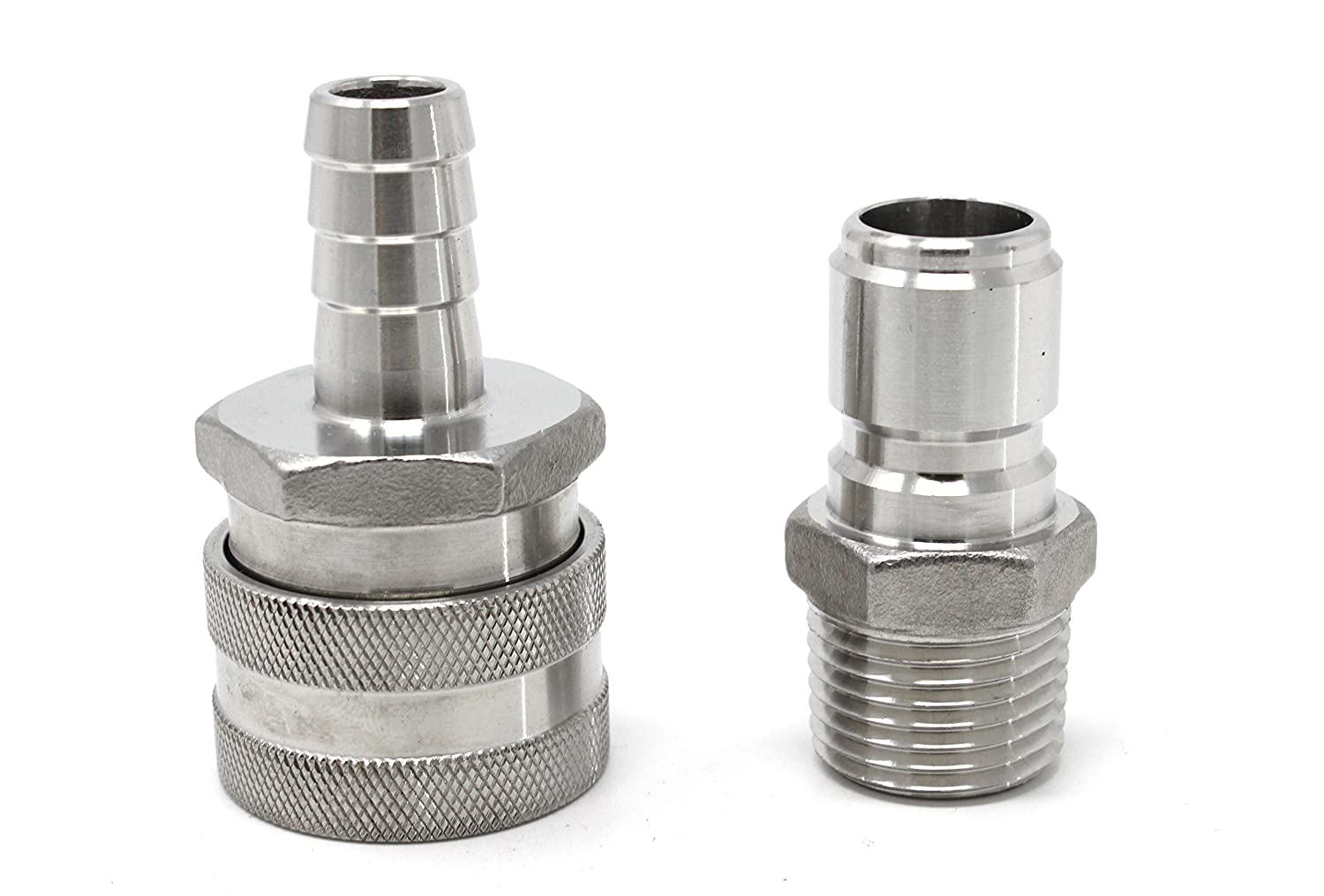 CONCORD 304 Stainless Steel Quick Disconnect Barb Hose with MPT Set. Home Brewing Mash Tun. (Barb Female/FPT Male)