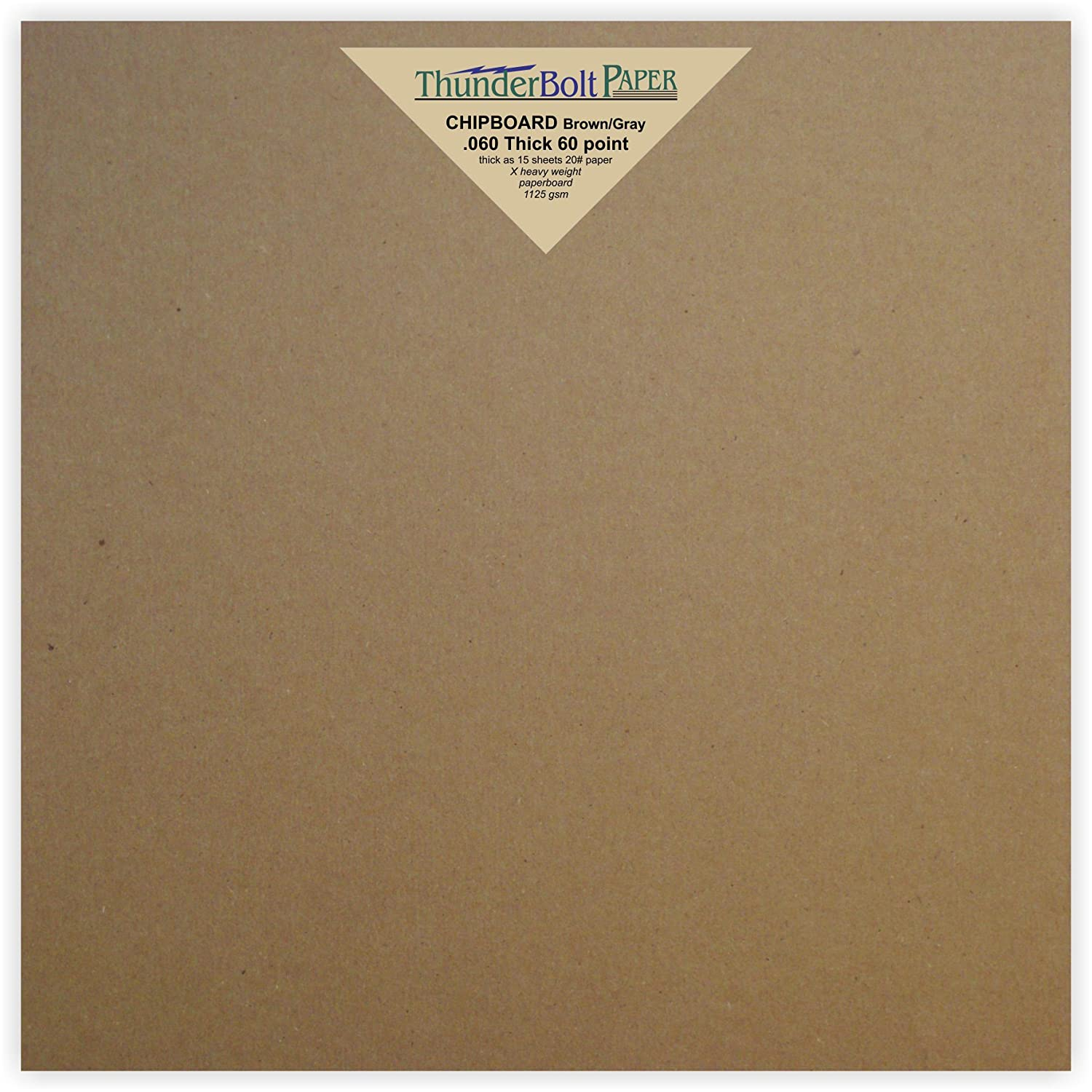 24 Sheets Brown Chipboard 60 Point Extra Thick 8 X 8 Inches Album|Scrapbook Size .060 Caliper X Heavy Cardboard as Thick as 15 Sheets 20# Paper TBP