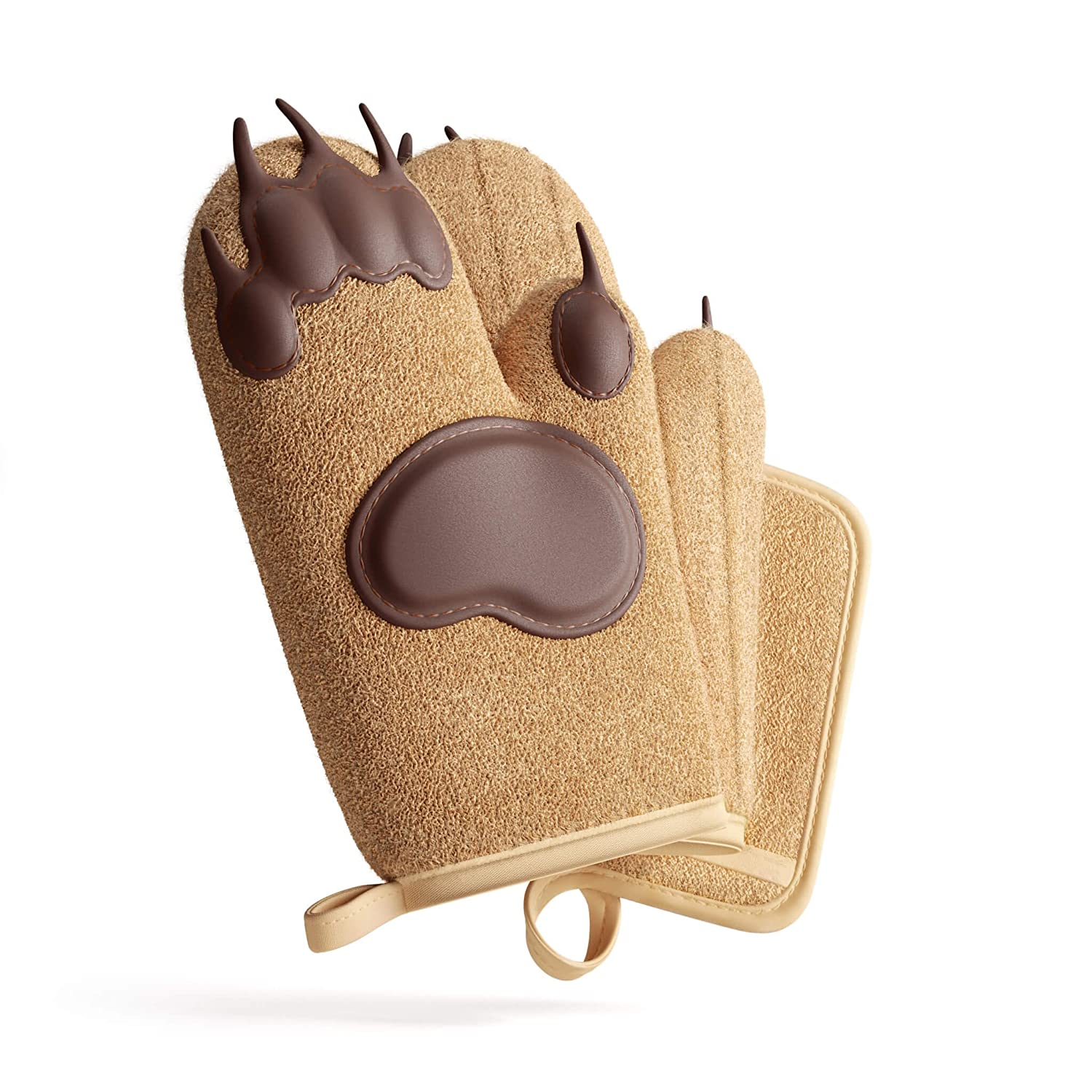 Heat Resistant Oven Mitts & Pot Holder Kitchen Set by Toem - Includes 2 Bear Paw Silicone Padded Oven Gloves, 1 Terry Cloth Pot Holder & Free Self Adhesive Hook