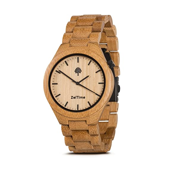 zeitime Madera Reloj de madera de bambú | Don Alpha | puede Caja de Regalo de