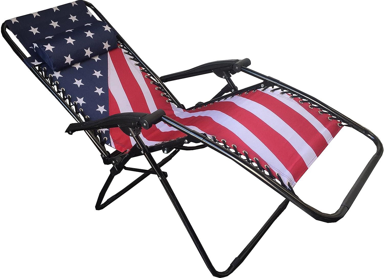 Welt berühmten Sports Stars und Stripes Zero Gravity Lounge Stuhl, rot/weiß/blau, 175,3 x 109,2 cm X 43