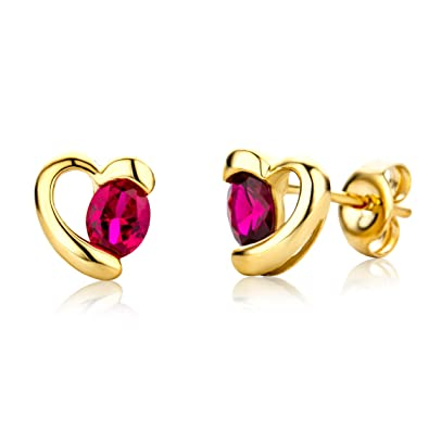 Miore Earrings Women Yellow Gold studs Heart Ruby 9 Kt/375 1ppPjWj