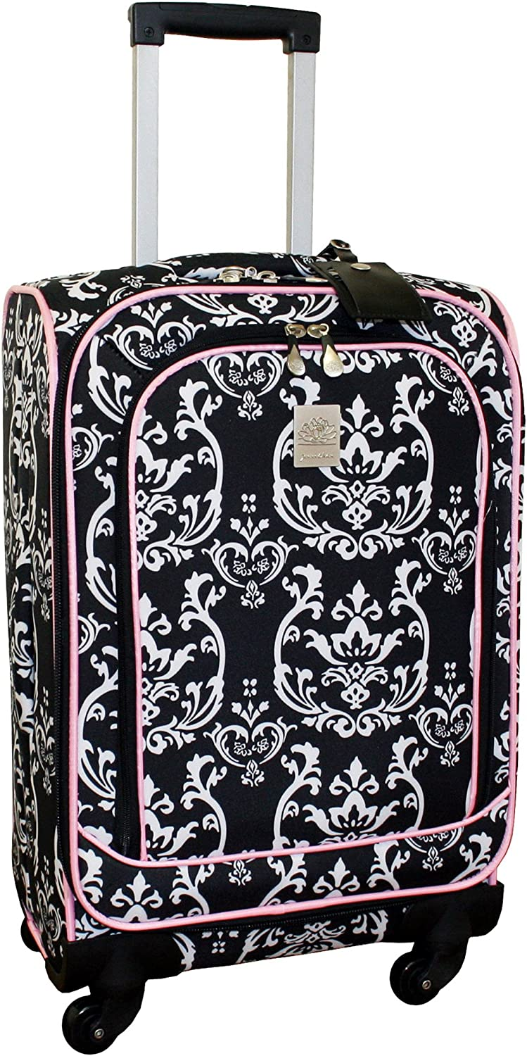 One Size Black//Pink Jenni Chan Damask 360 Quattro 21 Inch Upright Spinner Carry On Luggage