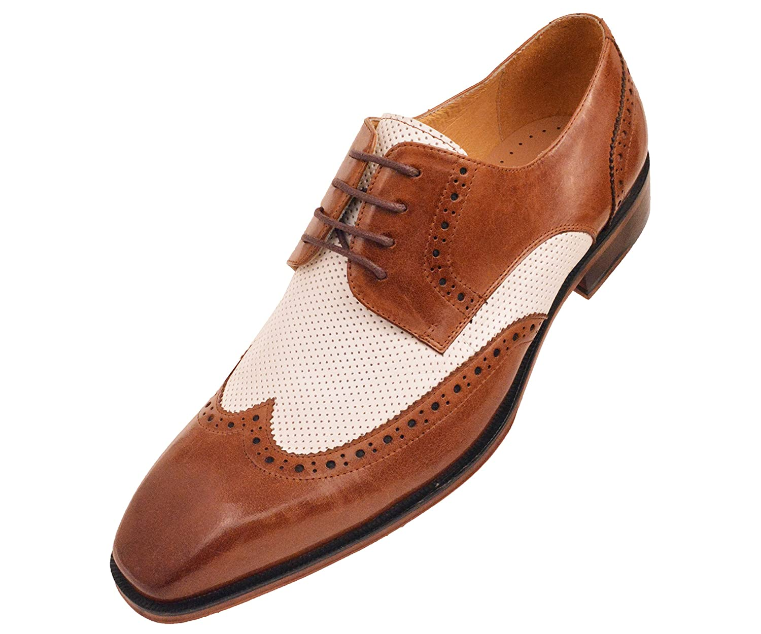1950s Mens Shoes: Saddle Shoes, Boots, Greaser, Rockabilly Asher Green Mens Two Tone Cognac Brown / White Genuine Leather Wingtip Oxford Dress Shoe: AG3027-215 $79.99 AT vintagedancer.com