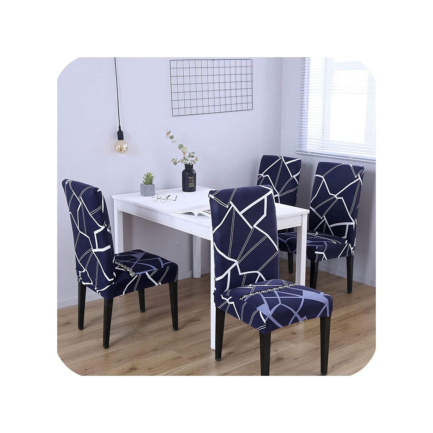 Wenzi-day 4/5/6 Pieces Printed Chair Cover Washable Removable Big Elastic Seat Covers Slipcovers Stretch for Banquet Hotel Dining Room,Color 08,5 Pieces
