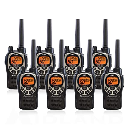 Midland Walkie Talkie >> Midland Gxt1000vp4 50 Channel Gmrs Two Way Radio Up To 36 Mile Range Walkie Talkie Black Silver Pack Of 8