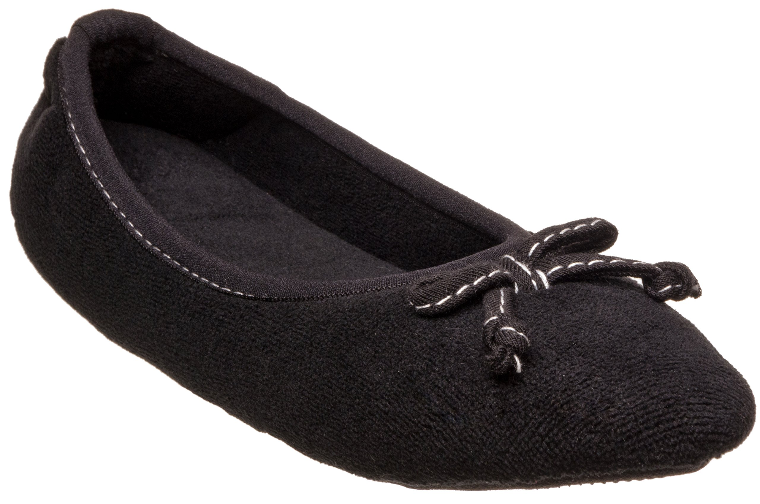 ISOTONER Womens Microterry Ada Ballerina Black Large 8-9