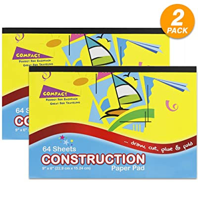 """Emraw 6"""" X 9"""" Mini Construction Paper Pad Draw, Cut, Glue and Fold Perfect for Kids Children While Travelling - 64 Per Pack (Pack of 2): Toys & Games"""