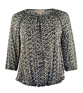 80838d12deb08 Michael Michael Kors Women s Plus Size Scoop-Neck Printed 3 4 Sleeve ...