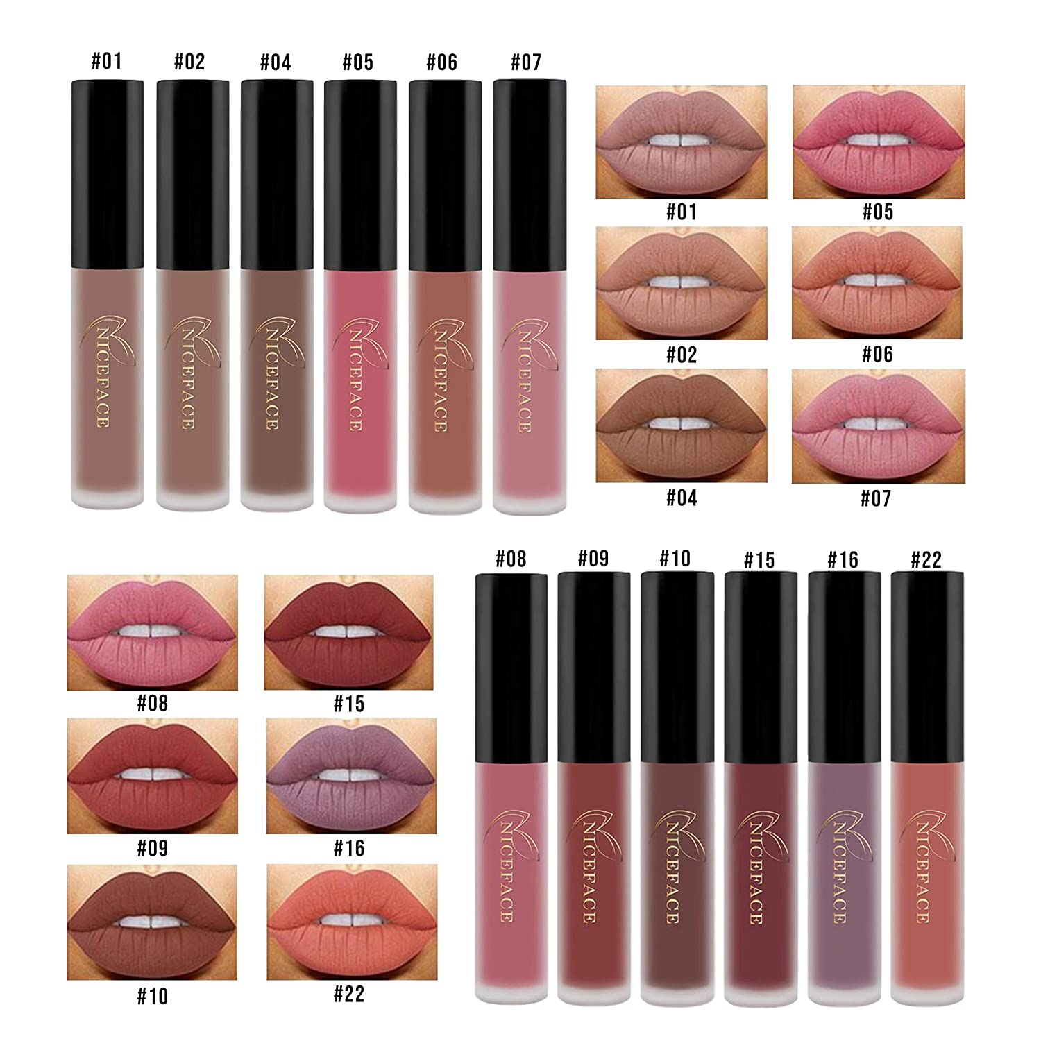 Primo Lines Lasting Hydra Matte Lip Gloss Set of 12 Shades — Beauty Makeup Cosmetics Gift for Teenage Girls — 12 x .0176oz (5g) Lip Glosses in Carrying Box Case