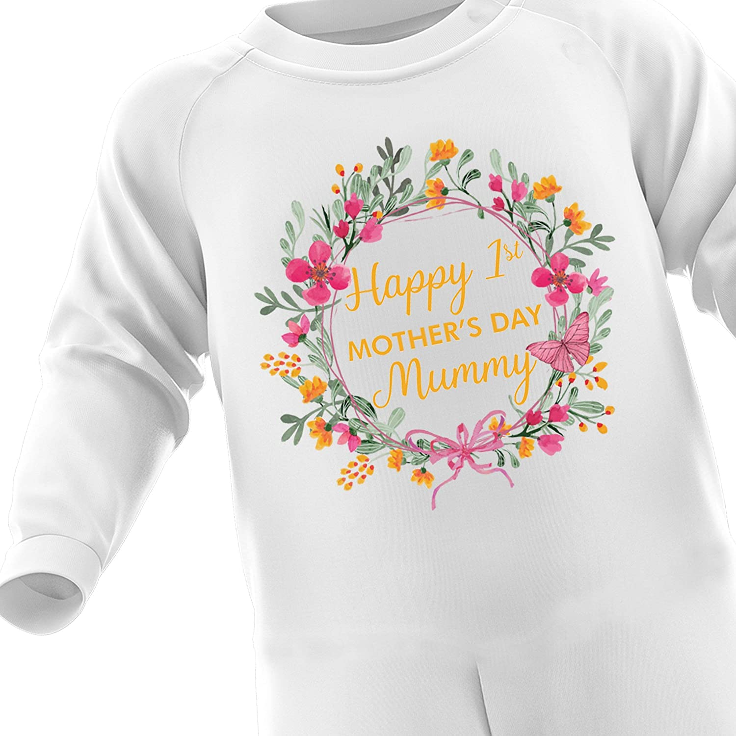 FunkyShirt Happy First Mothers Day Orange Flower Romper Baby Suit Outfit for First Time Mummy Gifts Newborn Baby Toddler Baby Boy Baby Girl Bodysuit