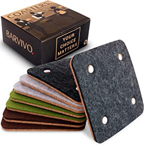 BARVIVO Coasters for Drinks Absorbent Set of 8 with Rivet - Perfect Classic Drink Coasters for Wooden Table Protection with Scratch Preventing Cork Side and an Instant Condensation Absorbing Felt Side