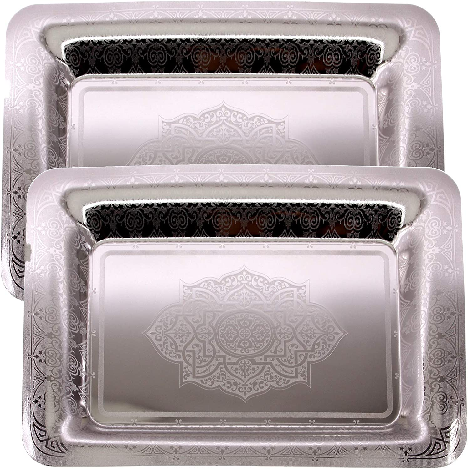 Maro Megastore (Pack of 2) 18.6 inch x 13 inch Oblong Chrome Plated Mirror Silver Serving Tray Stylish Design Floral Engraved Edge Decorative Party Birthday Wedding Buffet Wine Platter Plate TLA-348